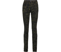 High-rise Printed Skinny Jeans Schwarz