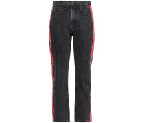 Leather-trimmed Striped Cropped High-rise Slim-leg Jeans