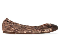 York Metallic Snake-effect Leather Ballet Flats Kupfer