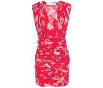 Defferri Pleated Printed Silk-blend Crepon Mini Dress
