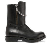 Chain-trimmed Leather Boots Schwarz