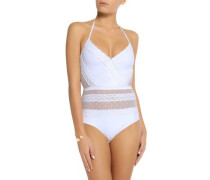 Zephyr crochet-trimmed point d'esprit-paneled swimsuit