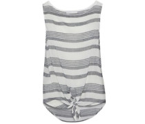 Knotted striped cotton-gauze top