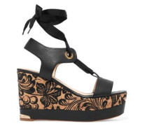 Oriane textured-leather embroidered wedge sandals