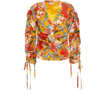 Ruched Floral-print Cotton And Silk-blend Top