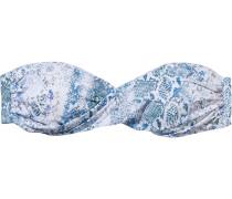 Martinique Twist-front Printed Bandeau Bikini Top
