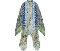 Lia Asymmetrischer Kimono aus Bedrucktem Crêpe De Chine aus Seide und Chiffon in Patchwork-optik