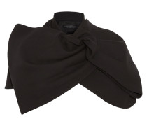 Sixties Bow-effect Stretch-twill Cape Schwarz
