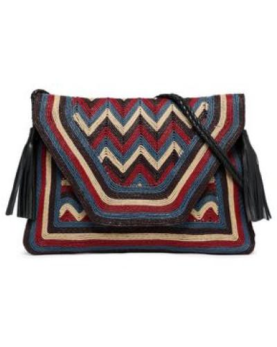 Leather-trimmed Woven Shoulder Bag Multicolor Size --