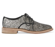 Glittered Canvas Brogues Silber