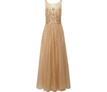 Metallic pleated embellished tulle gown