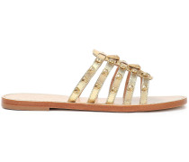 Woman Embellished Metallic Leather Sandals Gold