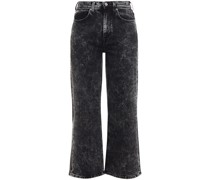 Alexa Cropped Bleached High-rise Straight-leg Jeans