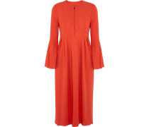 Glenys Pleated Stretch-crepe Midi Dress Knallorange