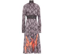 Shirred Snake-print Satin-crepe Dress