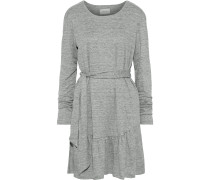 The Crystal Belted Mélange Linen-jersey Mini Dress