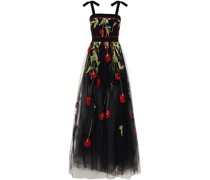 Bow-embellished Embroidered Crepe And Point D'esprit Gown