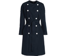 Belted cotton-twill coat