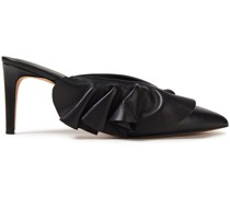 Ruffle-trimmed Leather Mules