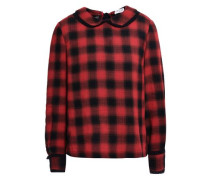 Betrue Lace-trimmed Checked Crepe Blouse Brick