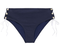 Lace-up Ribbed Mid-rise Bikini Briefs