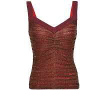 Ruched Metallic Striped Stretch-knit Top
