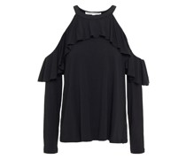 Cold-shoulder Ruffled Stretch-jersey Top