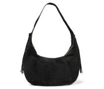 Zoe Large Tasseled Suede Shoulder Bag Schwarz