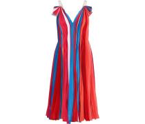 Woman Pleated Color-block Silk Crepe De Chine Dress Multicolor