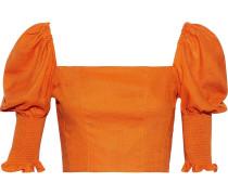 Cropped Shirred Gauze Top