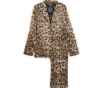 Lace-paneled Leopard-print Satin Pajama Set Leoparden-Print