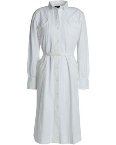 Tay Belted Cotton Shirt Dress White