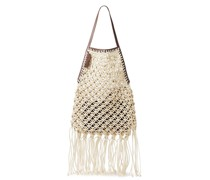 Leather-trimmed Fringed Cotton Macramé Tote