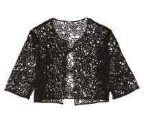 Cotton-blend Corded Lace Jacket Schwarz