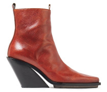 Burnished-leather Wedge Ankle Boots