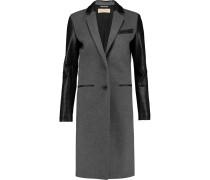 Leather-paneled Wool-blend Coat Grau