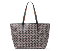 Printed faux leather tote bag