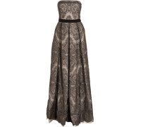 Gabriella Pleated Embroidered Tulle Gown Stahlgrau