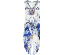 Woman Asymmetric Crystal-embellished Printed Silk Crepe De Chine Top White