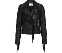 Alexis Fringed Washed-leather Biker Jacket