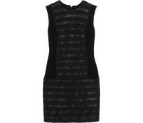 Raffia-trimmed cotton-blend bouclé mini dress