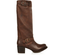 Vera Slouched Leather Boots Chocolate