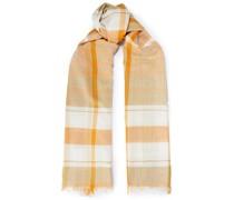 Karierter Schal aus Baumwollgaze mit Fransen