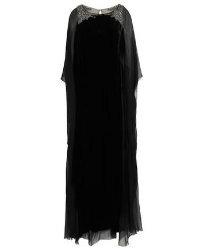 Cape-back Embellished Chiffon-paneled Velvet Gown Black