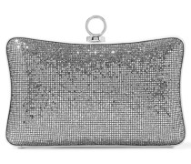 Sequined And Glittered Leather Clutch Silber