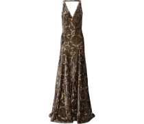 Open-back Metallic Flocked Jacquard Gown Gold