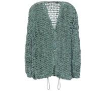 Sequin-embellished Open-knit Cardigan