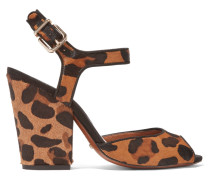 Leopard-print Calf Hair Sandals Leoparden-Print