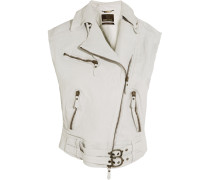 Oversized Textured-leather Vest Elfenbein