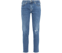 Pyper Cropped Distressed Mid-rise Slim-leg Jeans